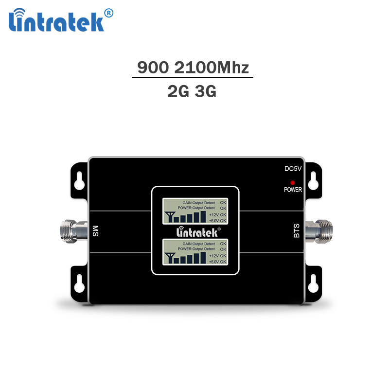 Lintratek GSM Repeater 900 2100 Signal Booster 2G 3G Ampli Mobile Phone Signal Amplifier GSM 900 WCDMA 3G 2100Mhz KW17L-GW #6.6