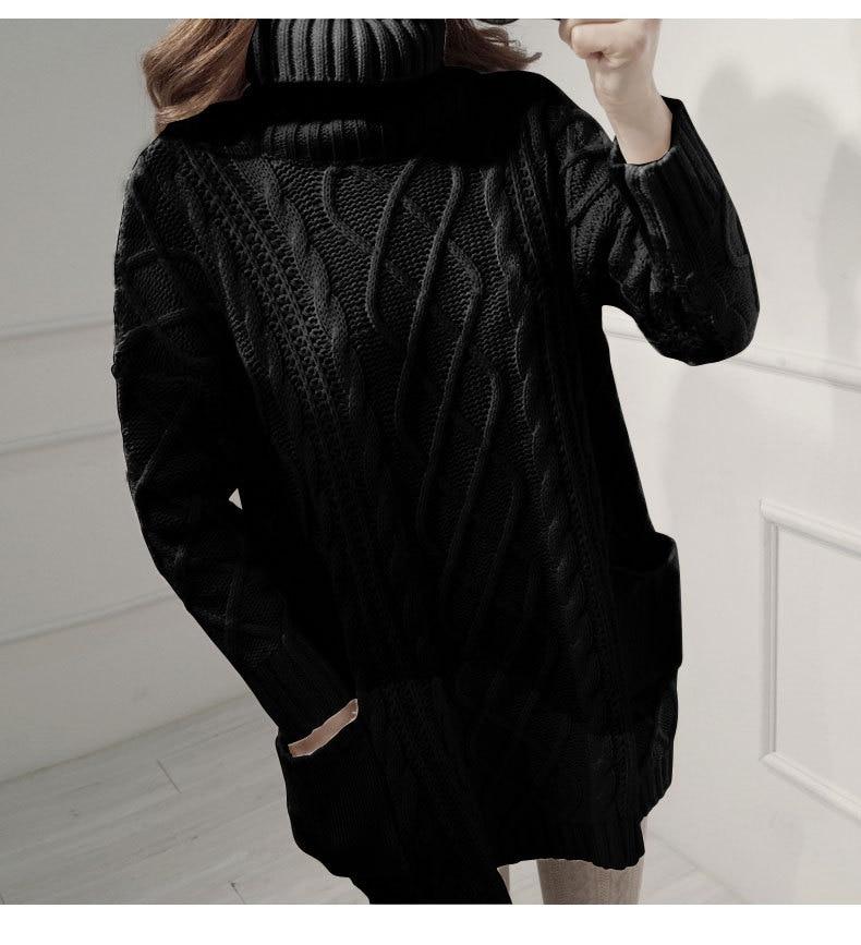 Pull Mode Longues 258 Vêtements Femmes Beige Automne black Hiver Chaud Col De Casual Tricots Épaissir Manches À Manteau Élégant Roulé coffee t4wI0