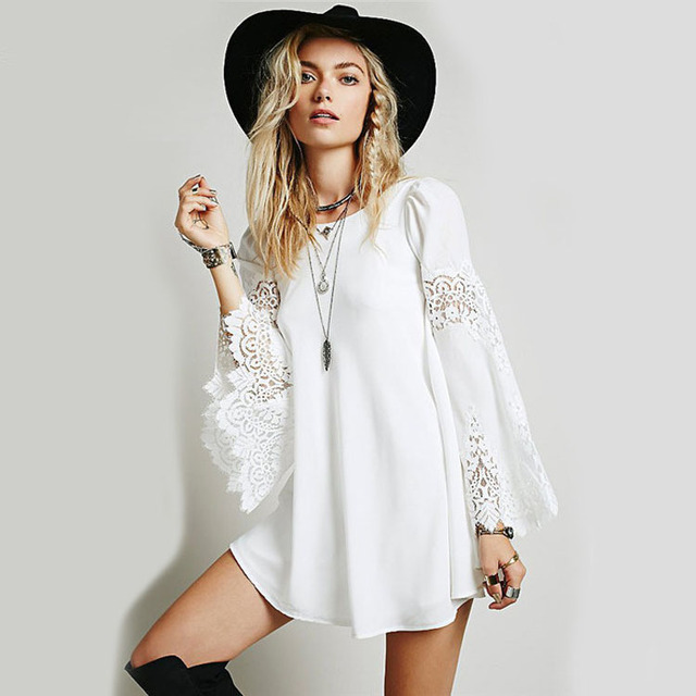 e700245bd614 Chiffon lace dress for women Crochet lace stitching mini dress Cute white  flowy dress Long Sleeve summer Beach Party Dress C8004