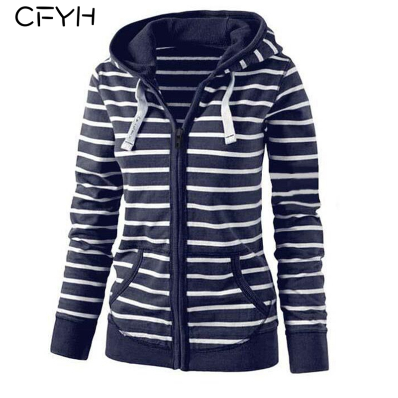 CFYH 2018 Women New Fashion Knitted Striped Zipper Pockets Hat Hoodies Casual Zip-up Long Sleeve Autumn Winter Hooded Sweatshirt