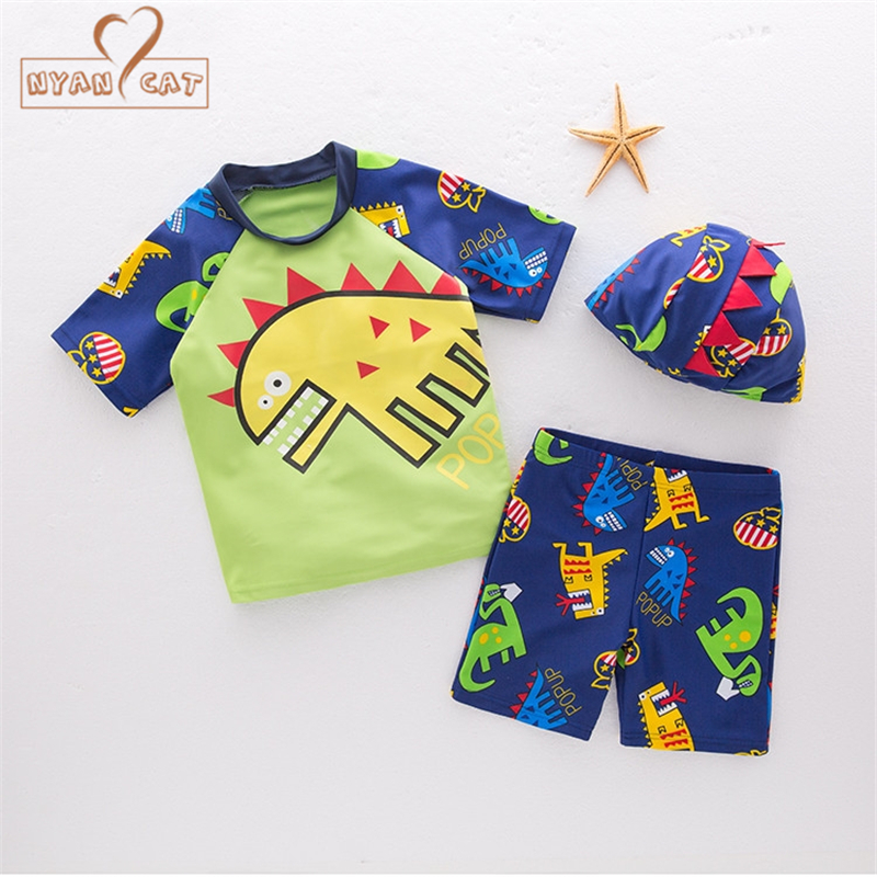 Nyan Cat Baby Boy Swimwear Children Dinosaur Swimsuit Bathing Beach Spa Pool Swim top+shorts+Hat Suits Kid Infant Summer Clothes spa swim pool pump 1 0hp with filtration