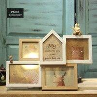 Animales creativo Cinco grupo de marco de madera marco de la foto de nuestro pequeño mundo la decoración del hogar 1 pc/lot