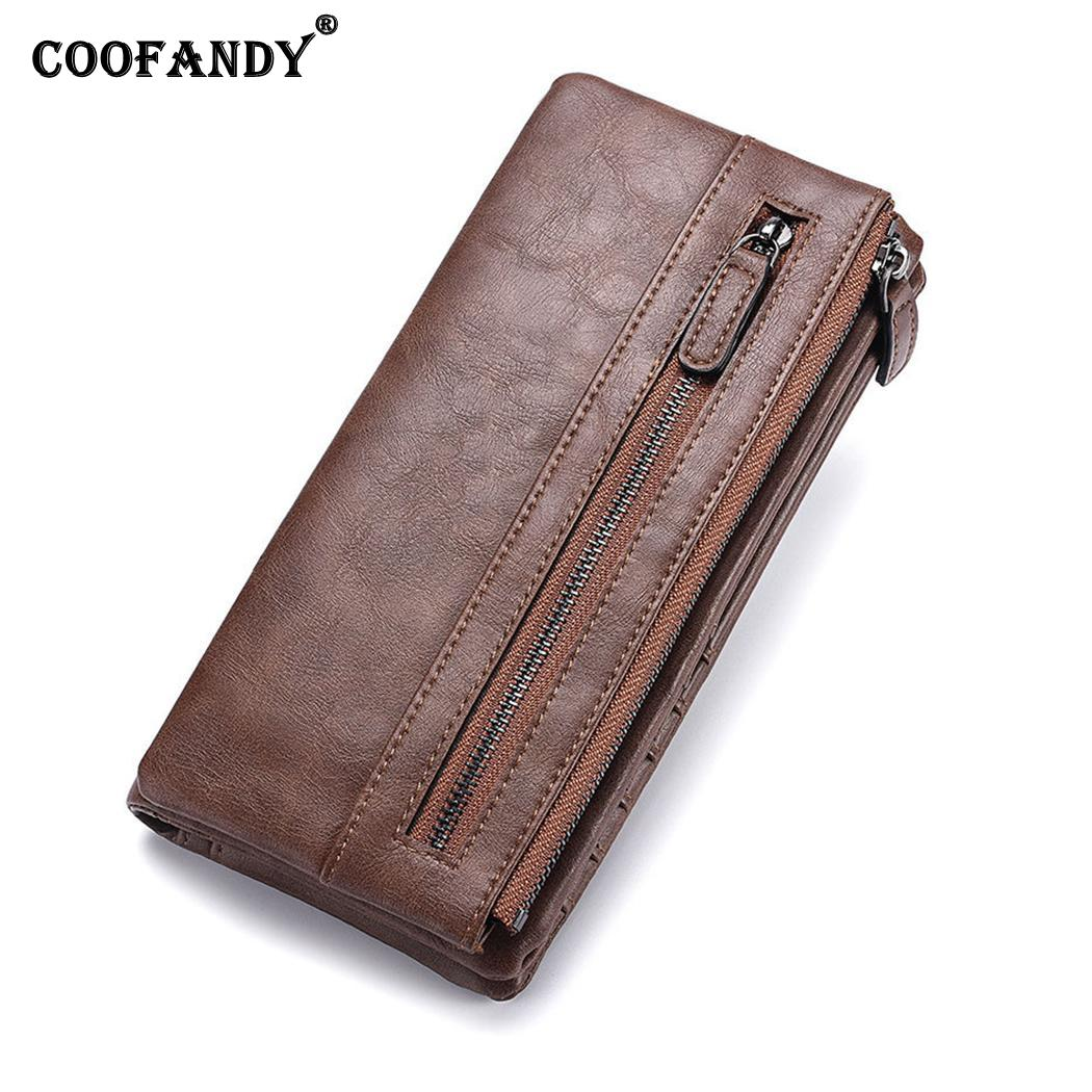 Men Casual Business Men Long Solid Rectangle Two-fold Detachable Zipper Wallet Coffee, Gray,Brown,Black(China)