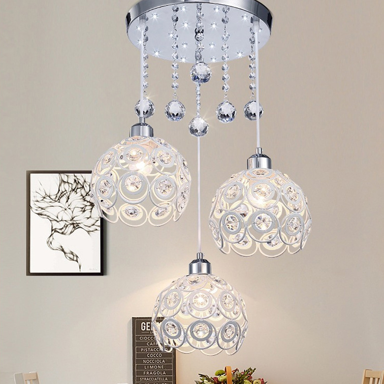 Modern Minimalist Three-head Restaurant Chandelier Dining Balcony Creative Dining Room Crystal Dining Hanging Lamps