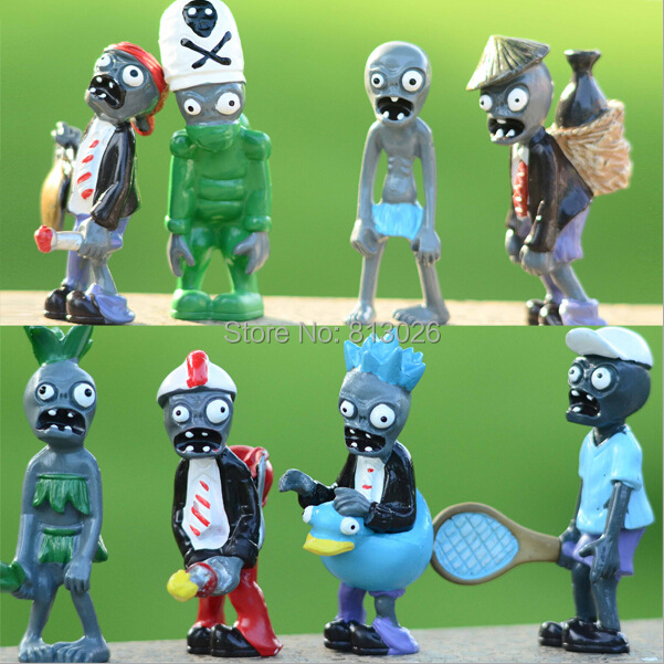 8pcs/set Plants vs Zombies Flower Ducky Tube Classical PVC brinquedos Collection Figures toys AnnO00411A