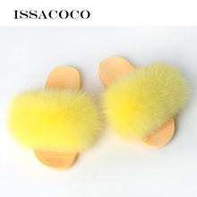 ISSACOCO Summer Womens Fur Slippers Real Fox Woman Slides Home Furry Flat Sandals Female Cute Fluffy Shoes Flip Flops