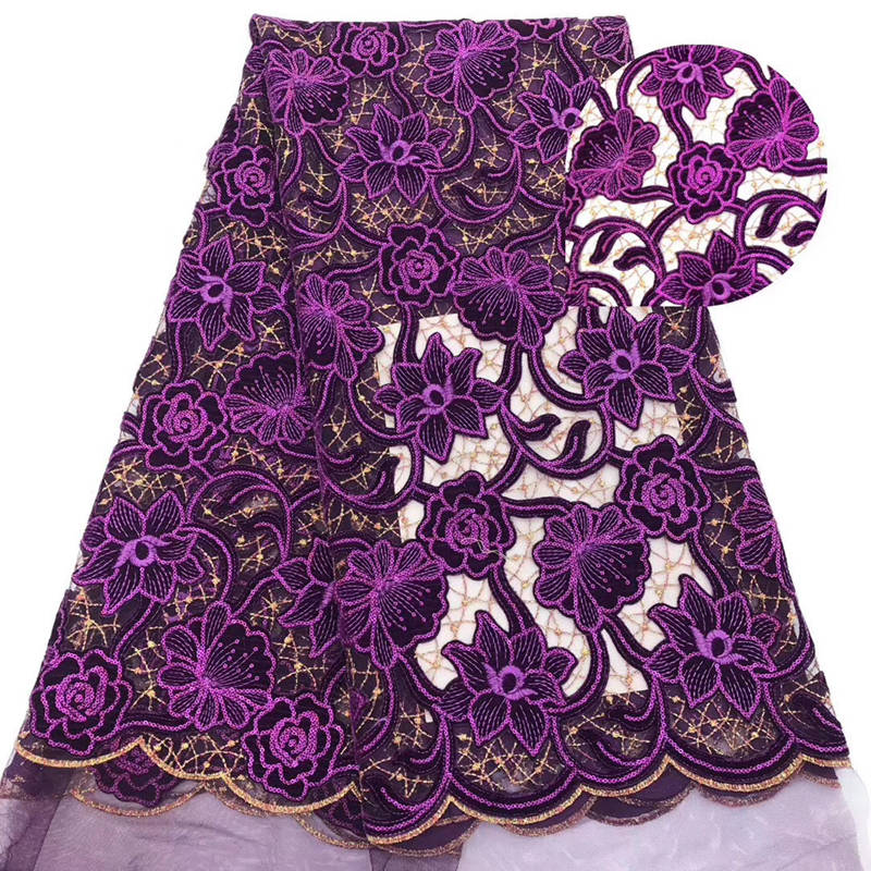 Purple African Lace Fabric 2019 High Quality African Tulle Lace Fabric With nice Velvet French Net
