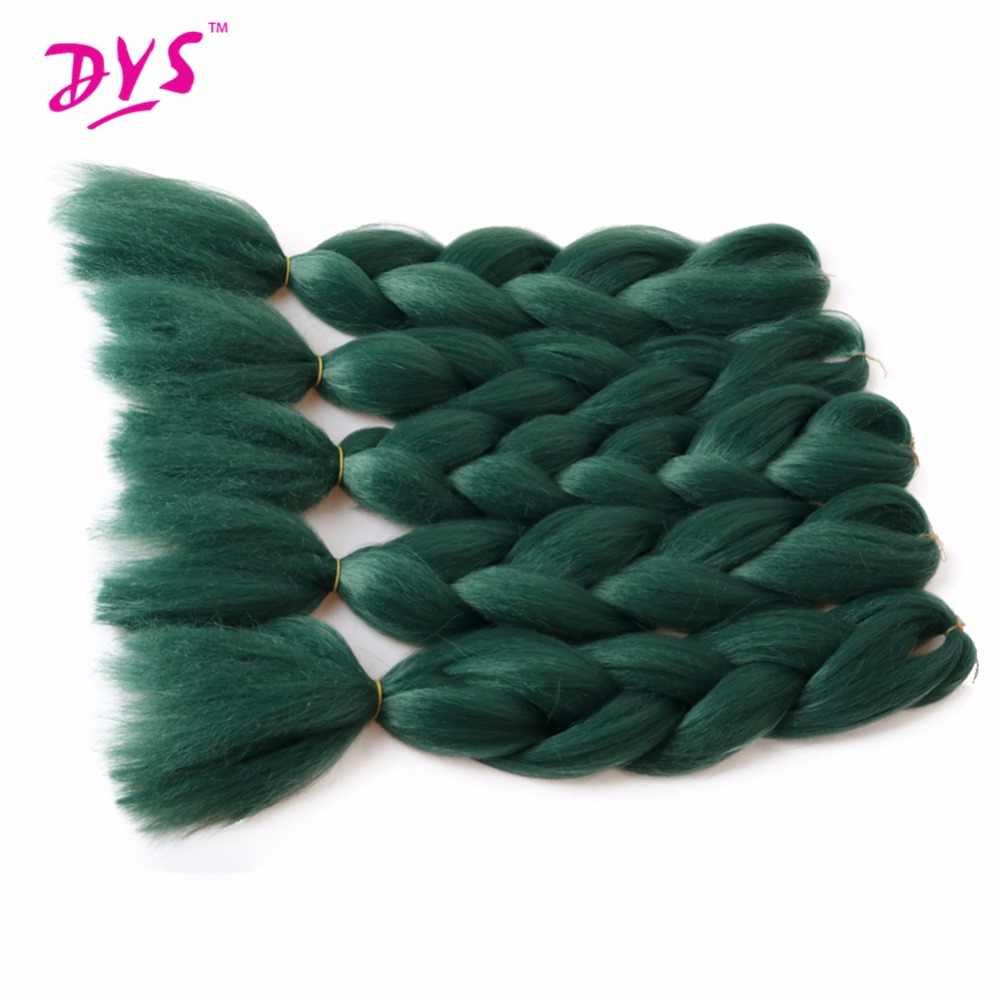 Deyngs натуральные синтетические плетеные волосы 24 дюйма чистый зеленый цвет крючком косы для наращивания волос огромные косы объемные волосы плетение