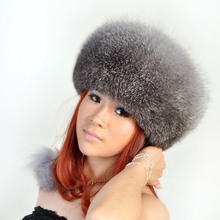 Real fur hats of genuine fox Fashion warm womens  hat with natural ball pompom Gray sheepskin leather H146