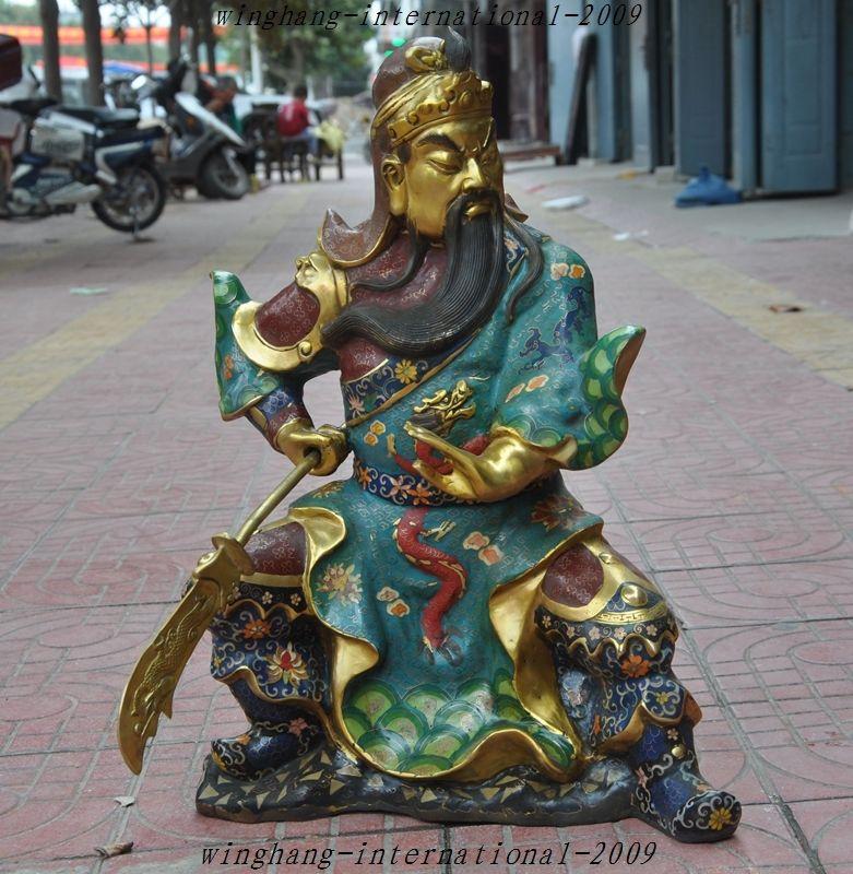 Crafts statue Old China Bronze Cloisonne Dragon warrior Generals guan gong guan yu God Statue halloween