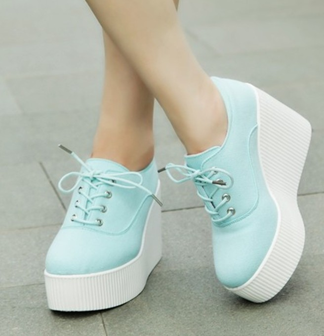 2015 new autumn floral canvas wedges shoes platform casual shoes ...