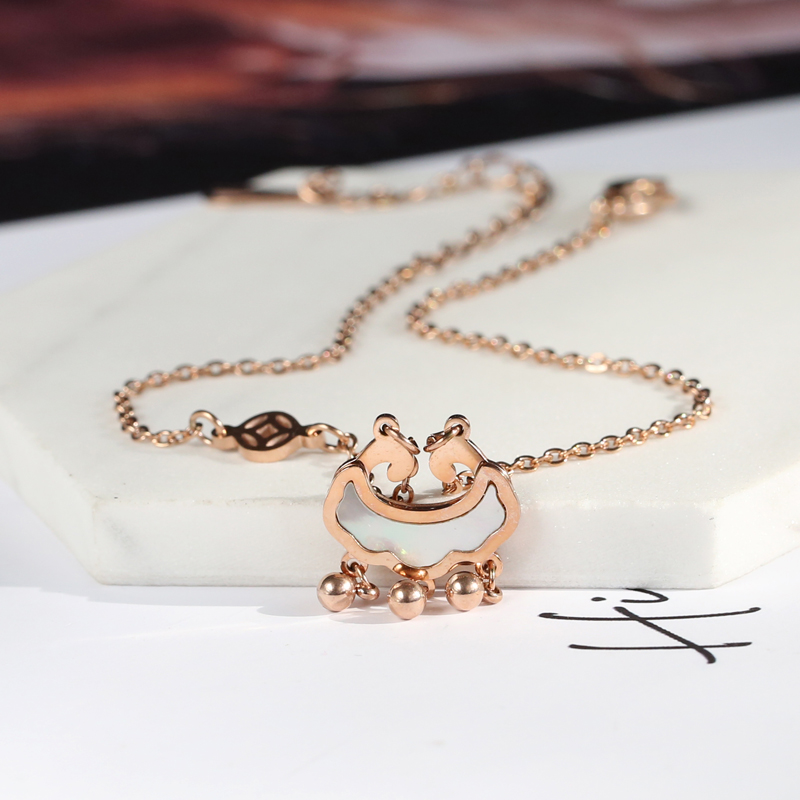 YUN RUO 2018 New Fashion Rose Gold Color Longevity Lock Anklet Chic Style Woman 316L Titanium Steel Jewelry Top Quality Not Fade