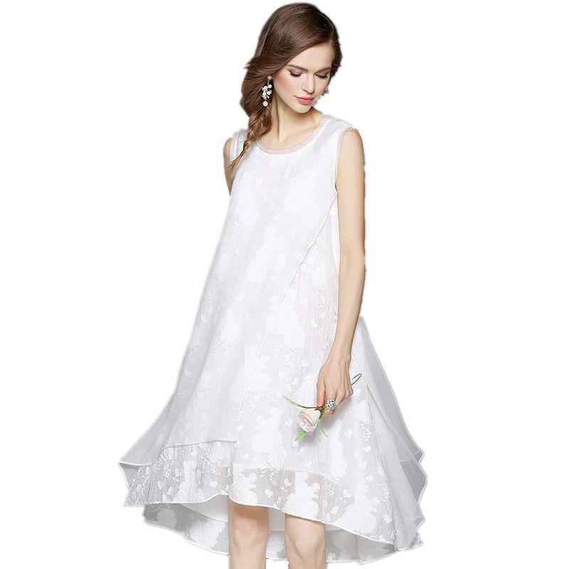 US $29.99 |Fashion Spring Summer Silk Linen Dress Women Black White Dresses  vintage irregular Loose Sleeveless Plus Size Dress vestidos-in Dresses ...