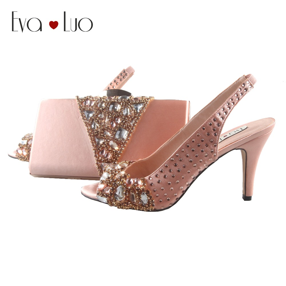 BS851 DHL Custom Made Peach Crystal Shoes With Matching Bag Set Slingbacks Women Shoes Dress Pumps