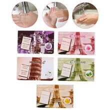 Горячее предложение, мыло для путешествий, бумага для мытья рук, для ванны, чистые ароматизированные кусочки листов, 25 шт., одноразовое мыло в коробке, портативное мини-бумажное мыло