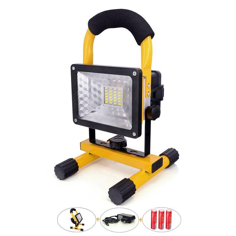 Poids léger et Portable LED Éclairage Extérieur 30 W avec Batterie Rechargeable 2400Lm Lampe Sans Fil Jaune a mené Le Projecteur