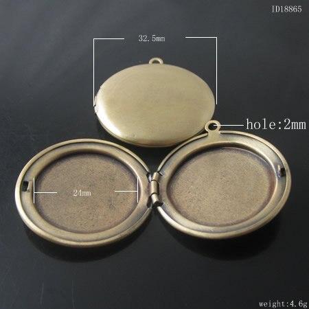 Товара, Латунный Медальон Фото Подвеска, 32 мм, анти-латунь цвет, ID18865 - Окраска металла: Antiqued   Brass