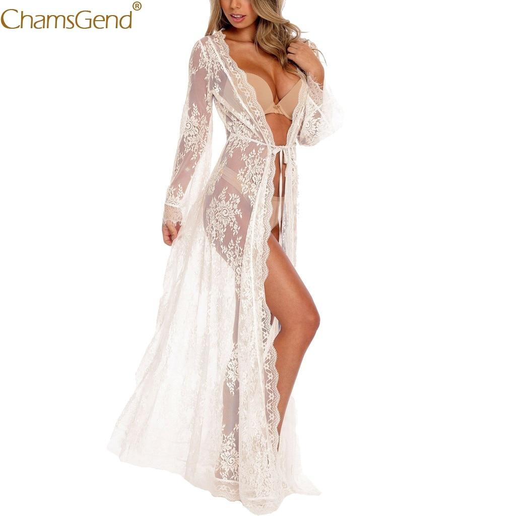 Long Sleeve V-Neck dress women summer wedding dress long sleeve dress women for wedding Lace Mermaid Cover Up Beach Mar