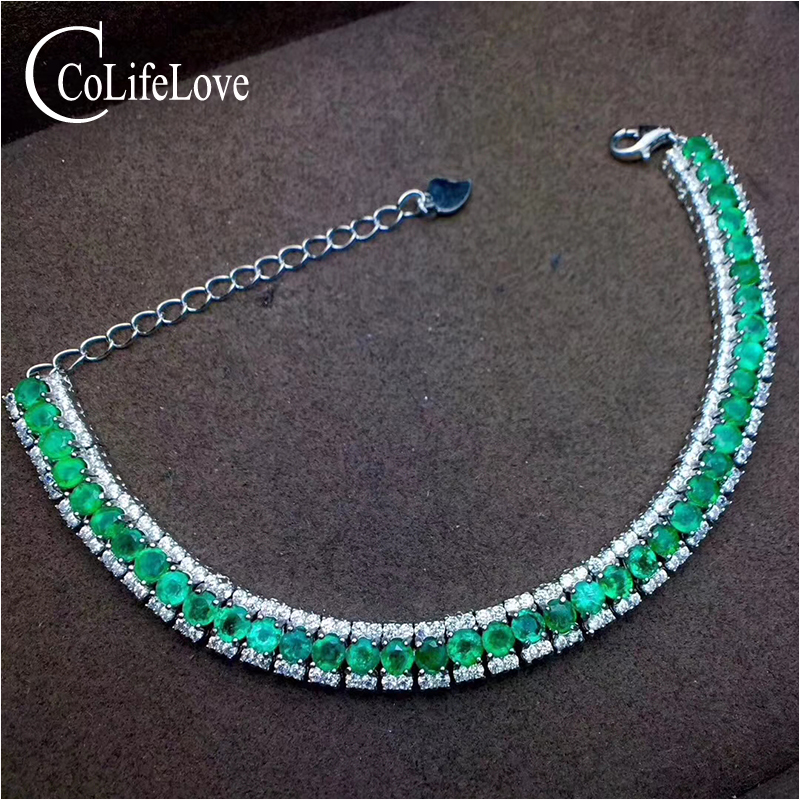 Luxurious emerald bracelet for wedding 40 pcs natural SI grade emerald silver bracelet 925 sterling silver emerald jewelry цены