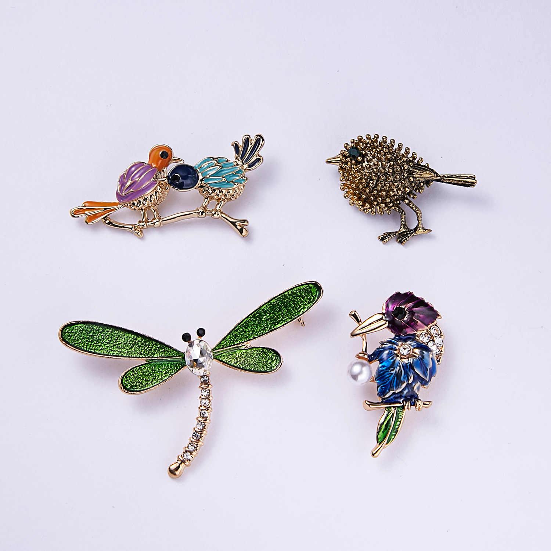 Vintage Burung Serangga Tortoise Bros Capung Ular Burung Gaun Kerah Sesuai Beetle Perjamuan Dekorasi Bros Pin Perhiasan
