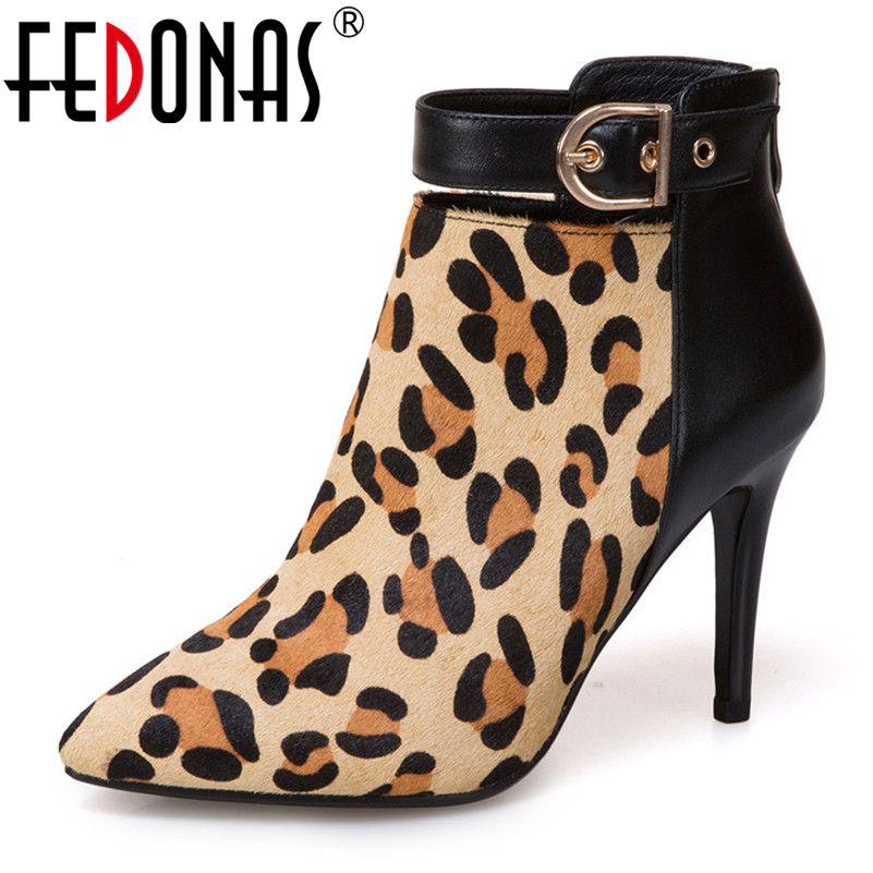 FEDONAS Sexy Leopard Women Ankle Boots High Heeled Wedding Party Shoes Woman Zipper Autumn Winter Pointed Toe Night Prom PumpsFEDONAS Sexy Leopard Women Ankle Boots High Heeled Wedding Party Shoes Woman Zipper Autumn Winter Pointed Toe Night Prom Pumps