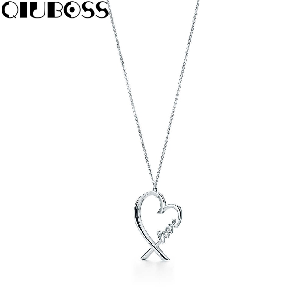 QIUBOSS S925 TiffanySilver Arrow Love Pendant 925 Sterling Silver Love Cross Clavicle Chain Necklace Valentine's Day Gift necklace love imitation silver chain letter personality clavicle 925 sterling silver paved rainbow cubic zirconia love necklaces
