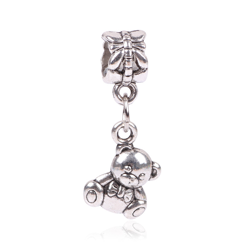 Free Shipping 1Pc Silver Bead Charm European Silver with bear Charm Pendant Bead Fit Pandora Bracelet & Gift