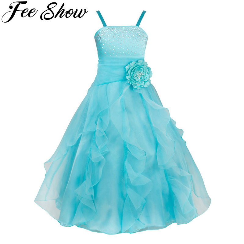 Flower Girl Dress Tulle Vestido Pageant Dresses Sleeveless Organza Floral Dresses Princess Wedding Birthday Party Formal Dress formal wedding party girl dress pearl flower lace party dress with floral belt 12 years princess vestido cloth half sleeve