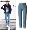 High Street Fashion Blue Fácil Femme Baggy Loose Boyfriend Jeans de Pierna Recta Pantalones Vaqueros de Talle Alto de Las Mujeres