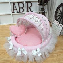 Lovely house with delicate lace pet cradle beautiful round bed New luxury meow princess dog camp pad