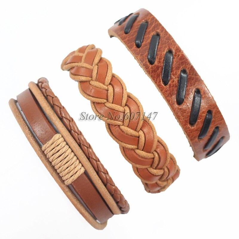 be4cd49d7 اليدوية الصداقة الجملة (3 قطعة/الوحدة) العرقية القبلية حقيقية التفاف سحر  الذكور أساور جلدية أساور-K60