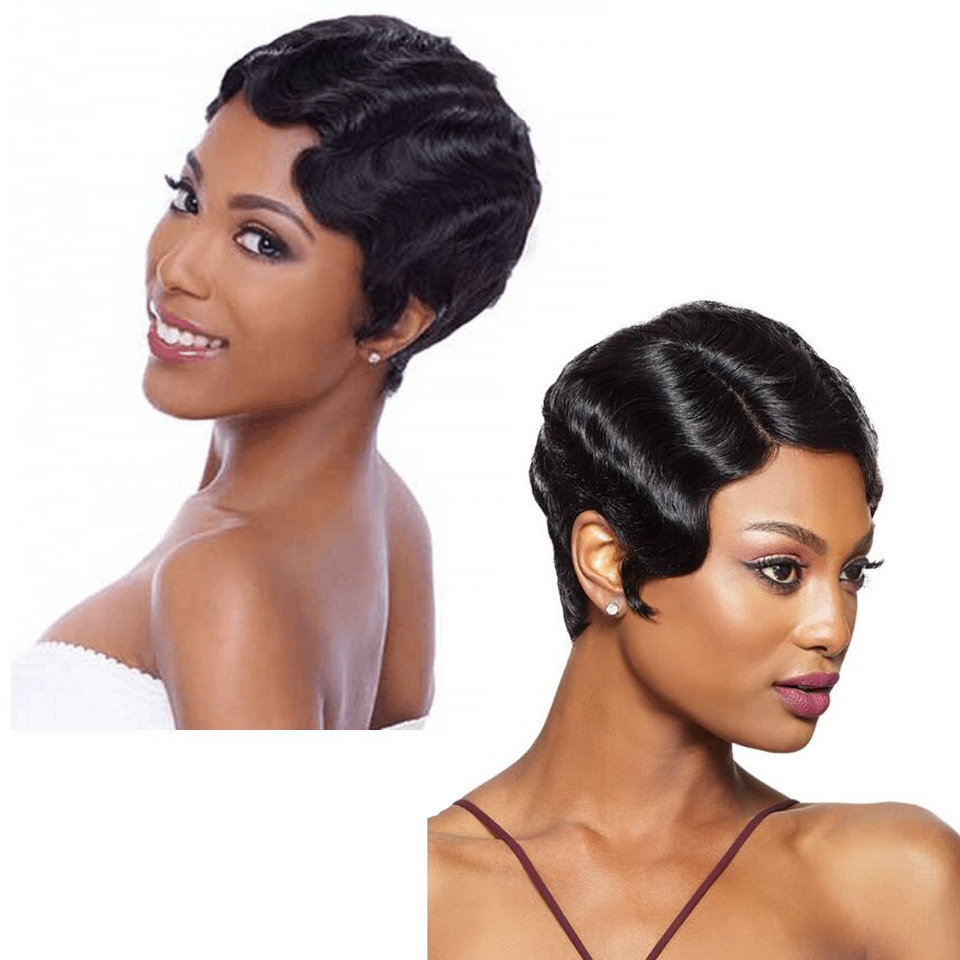 Short Human Hair Wigs For Women Finger Wave Wigs Brazilian Remy Hair Short Wavy  Mommy Wig For Fashion Women Short Pixie Cut Wig