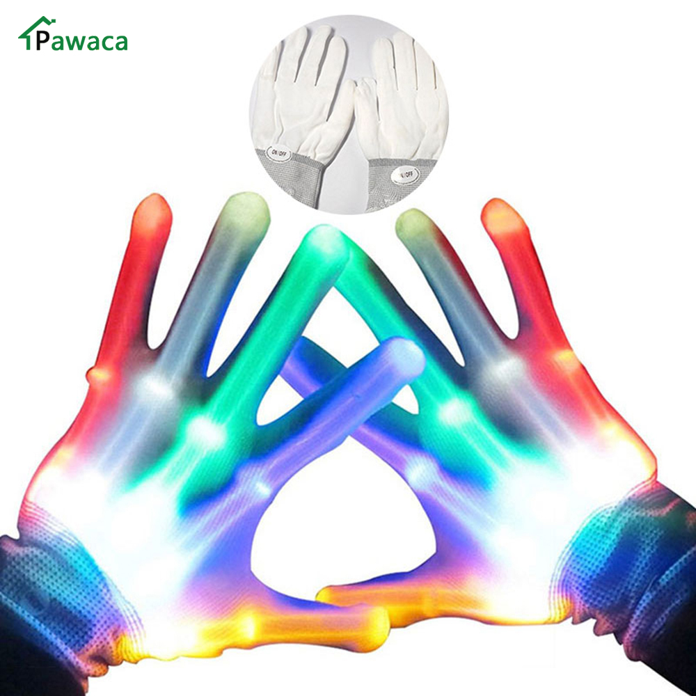 1 Pairs Magic LED Light Skeleton Glove Colorful Rainbow Flash Fingertip LED Gloves Unisex Light Up Glow Stick Gloves Party Props