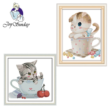цена на Joy Sunday,kitten in the cup,cross stitch embroidery set,printing cloth embroidery kit,needlework,animal pattern cross stitch