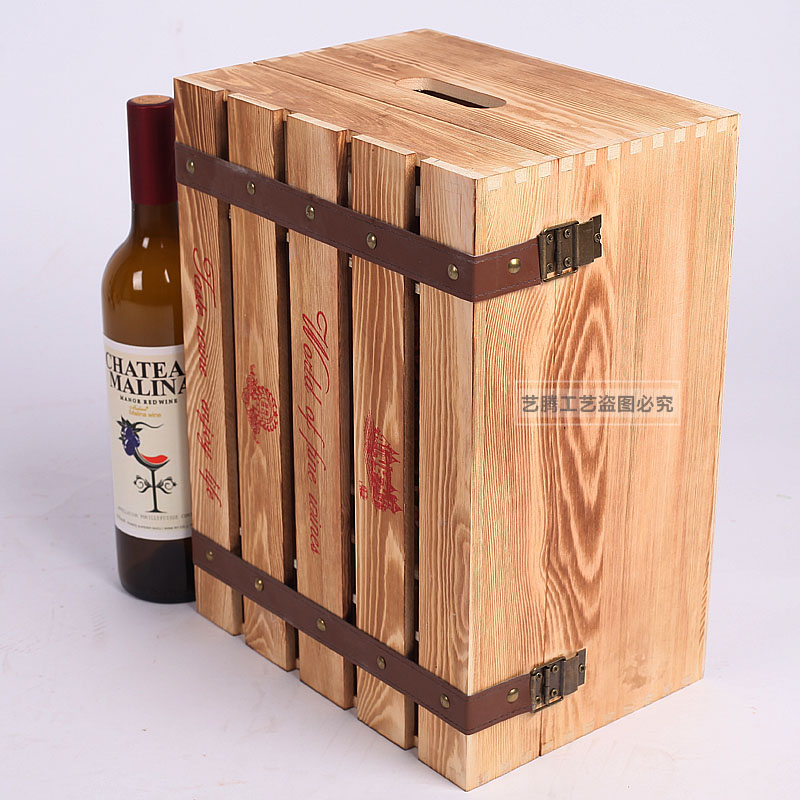 Exported High End 6 Pcs Mounted Pine Wood Wine Boxes 750ml Red Wine