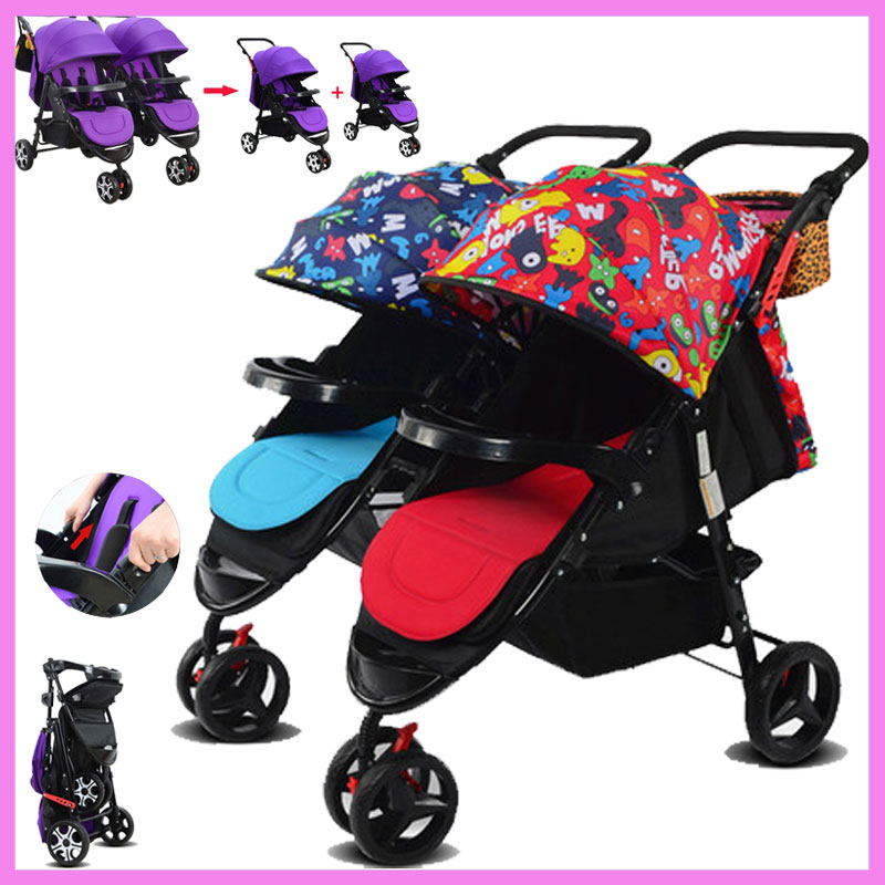 Фото High View Twins Baby Stroller 2 In 1 Can Sit Flat Lying Split Folding Shock Resistant Lightweight Double Baby Tricycle Stroller