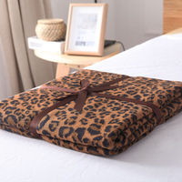 Nordic Style Leopard Knit Towel Blankets Home Decoration Sofa Blanket Cotton Material Blanket Knit Shawl Bedding Warm Bedspread