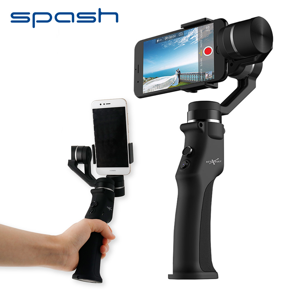 Spash three Axis Handheld Gimbal Stabilizer For Smartphone Iphone Bluetooth App Selfie Stick Cell Cellphone Gimbal Good Monitoring