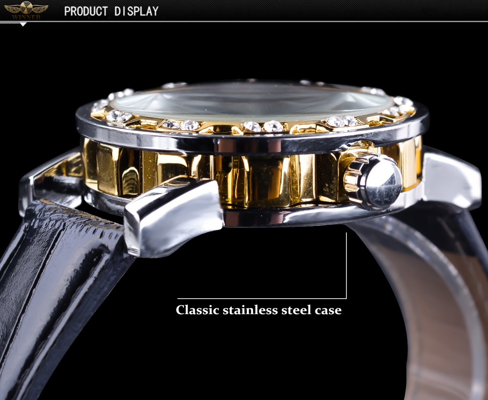 HTB18R2RzeuSBuNjSsziq6zq8pXa8 Winner Black Golden Retro Luminous Hands Fashion Diamond Display Mens Mechanical Skeleton Wrist Watches Top Brand Luxury Clock