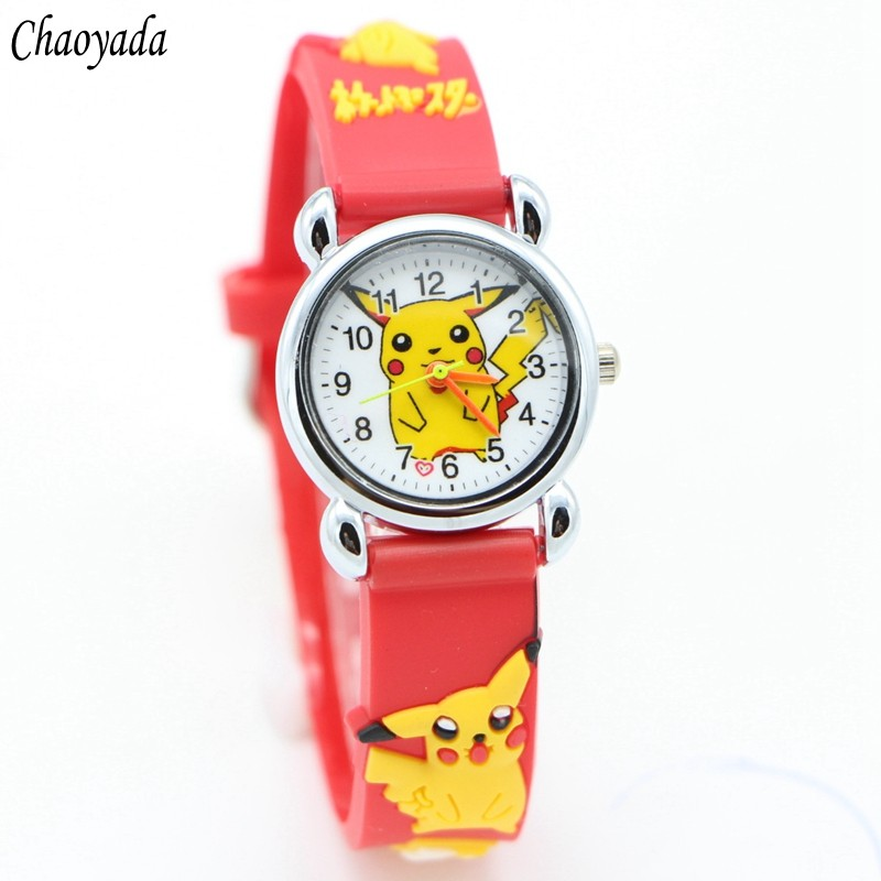 3D Cartoon Lovely Kids Girls Boys Children Students Quartz Wrist Watch Very Popular Watches Pikachu Style
