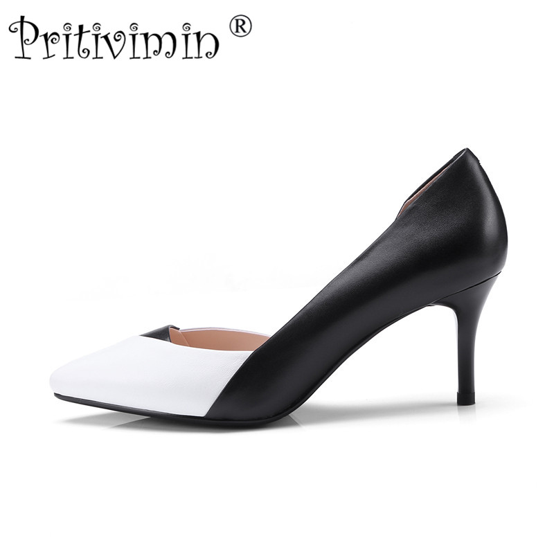 Pritivimin 2018 ladies pointed toe thin high heel shoes women elegant genuine leather heels girls fashion designer pumps FN146 2017 ladies round toe handmade shoes women genuine leather high heels girls fashion spring autumn office pumps pritivimin fn20