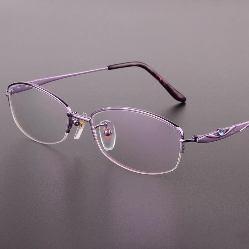 ᑐLa nueva moda medio marco gafas de montura negra pura Titanium ...