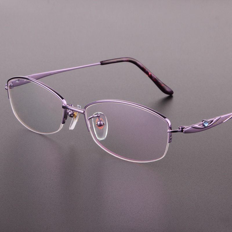 The new fashion half-rimmed glasses frame Pure titanium eyeglasses frame glasses women prescription eyewear 8313