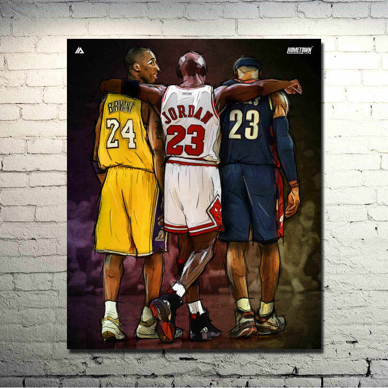 9f27b469af5b Michael Jordan Kobe Bryant Lebron James New 24x30 inches Sport Prictre  Print For Living Room Decor