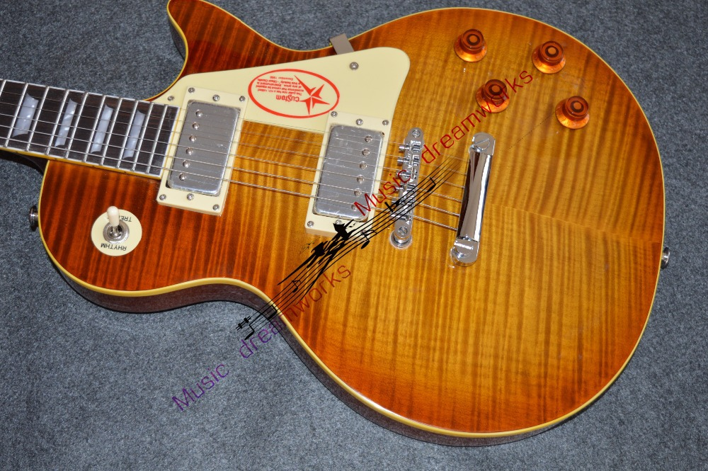 firehawk OEM shop wholesale custom shop 1959 R9 tiger flame thermal electric guitar standard LP 59 electric guitar ...