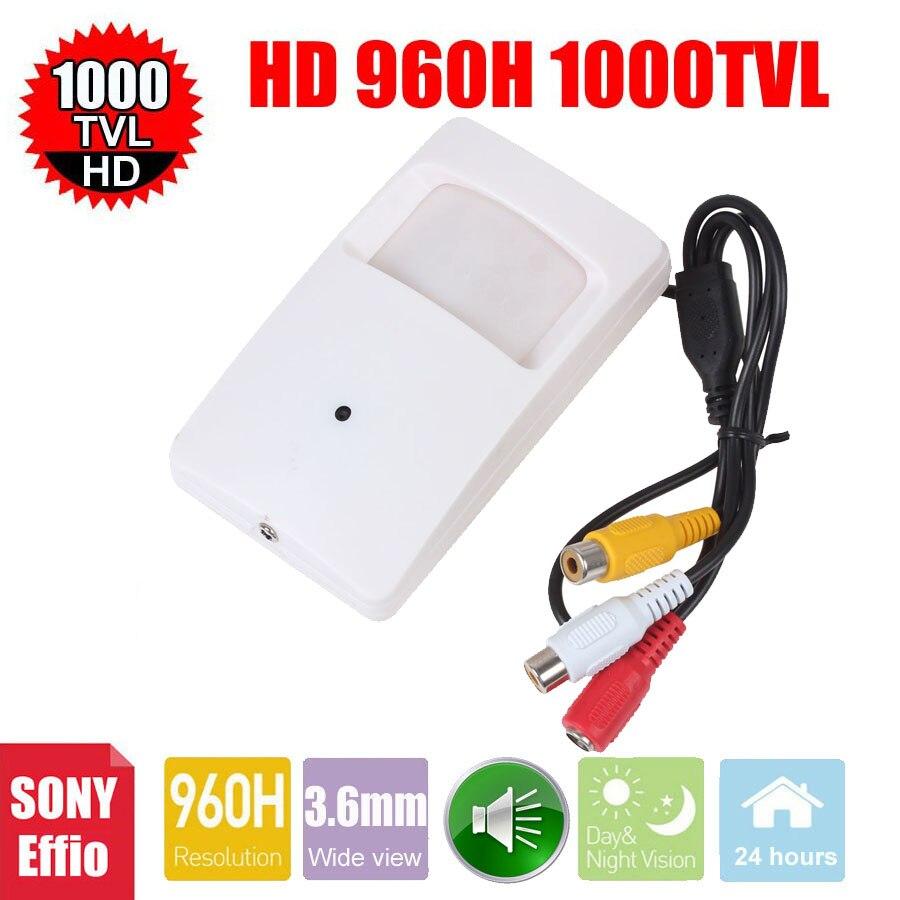 imágenes para Vanxse cctv 1/3 sony effio-e 1000tvl 960 h mini cámara de vigilancia de cámaras de seguridad de interior audio con micrófono micrófono