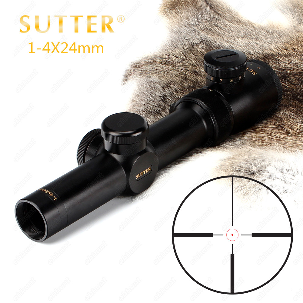 SUTTER 1-4X24 Compact Hunting Riflescopes R12 R29 Glass Reticle Red Illuminate Optical Sight For Tactical Rifle Scope 1 4x24 r12 r29 glass reticle tactical riflescope red illuminate optical sight for hunting rifle scope