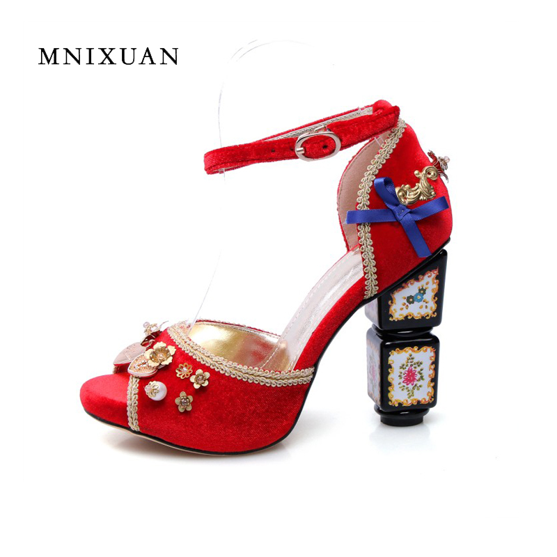 Luxury brand shoes women peep toe chinese 2017 summer new arrival ladies women sandals high heels wedding shoe red big size34-43 brand new women platform sandals t strap rivets high heels wedding shoes woman peep toe gladiator women luxury big size shoes