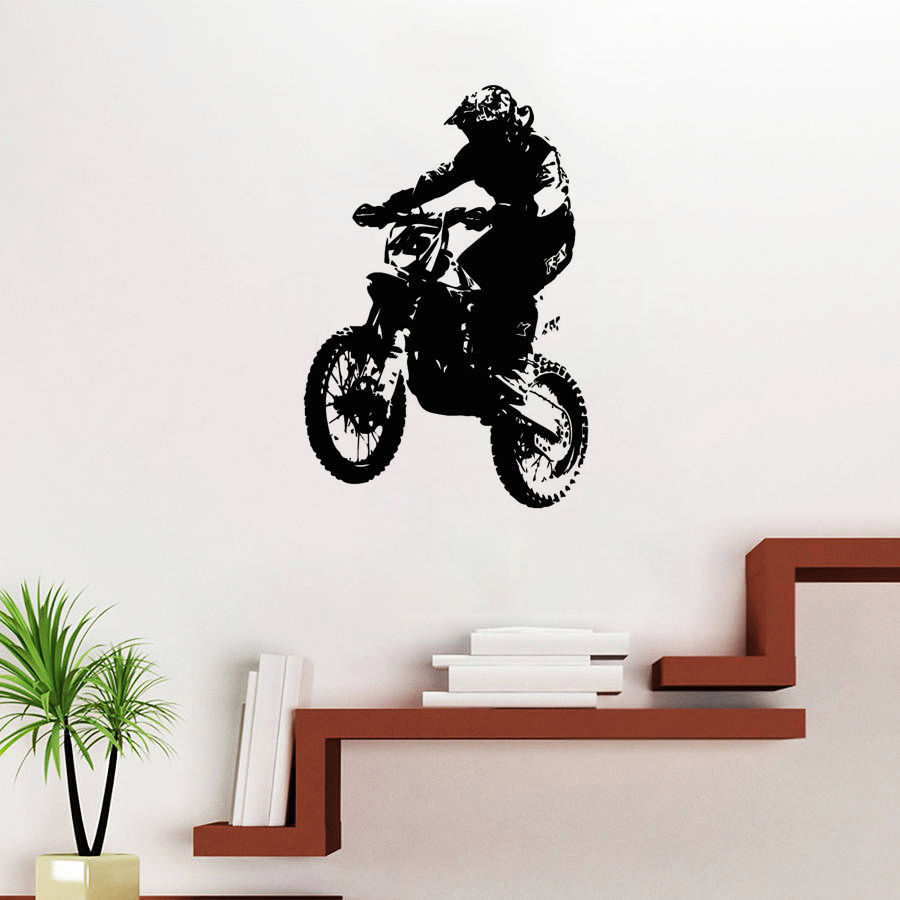 Dirt Cheap Home Decor: Motocross Stunt Dirt Bike Wall Stickers Motorcycle Wall