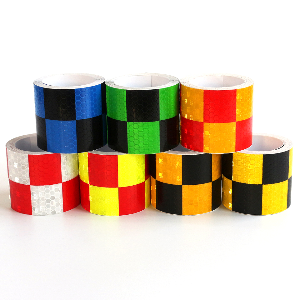 10mx5cm Sticker for Car-styling Accessories Reflective Strips Motorcycle Truck Checkerboard Printed Safety Warning Adhesive Tape